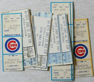 Lot 10 1987 Chicago Cubs Ticket Stubs Expos Braves Mets Dodgers Pirates