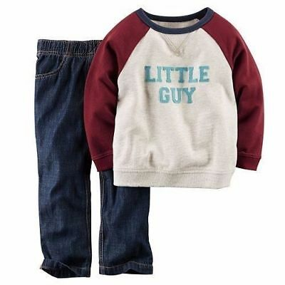 New Carter's Baby Boy 2-Pc. French Terry Sweatshirt & Denim Pants Set 9 M months