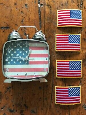 Estate Lot US American Flag Clock Military Patches + Stamp Watch Junk Drawer USA