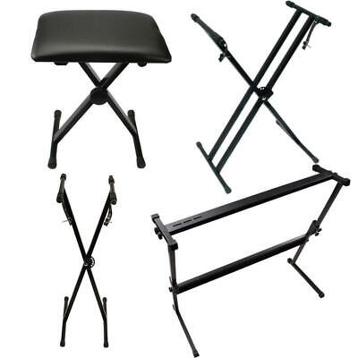Glarry Adjustable Folding X Frame Keyboard Piano Bench Stool Chair & Stand