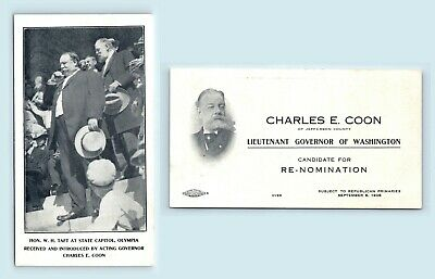 SOON TO BE PRESIDENT WH TAFT & WA GOVERNOR CHARLES COON - c1908 LG BUSINESS CARD
