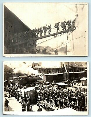 Wwi Soldiers Boarding Steamships From Train - Iconic Candid Vtg Photo Rppc Lot
