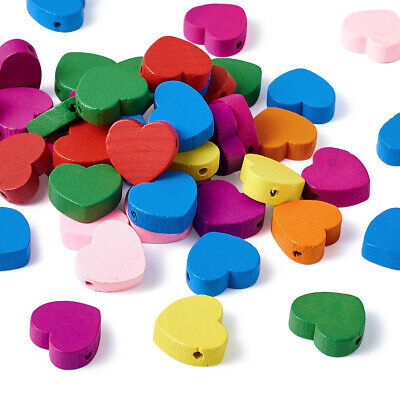 670PCS Wood Heart Beads For DIY Craft Bracelet Jewelry Making Dyed 17x18x6mm