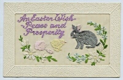 Ww1 C.1917 Npu Silk Embroidered Scarce Postcard Featuring The Easter Rabbit D42