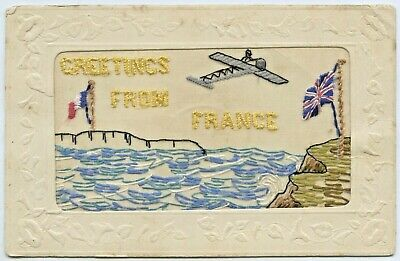 Ww1 C.1917 French Silk Embroidered Postcard Aeroplane Over English Channel D43