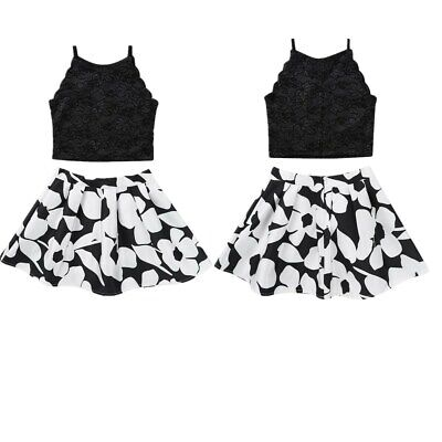Kids Girls Summer Outfit Dress Flower Girl Party Casual Floral Lace Top+Skirt