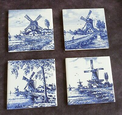 SET OF 4 OLD VINTAGE DUTCH DELFT TILES all different scenes Beautiful Wind Mills