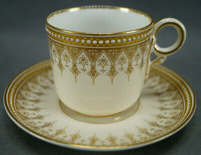 Royal Worcester W1290 Gold Arch & White Jeweled Coffee Cup & Saucer Circa 1887