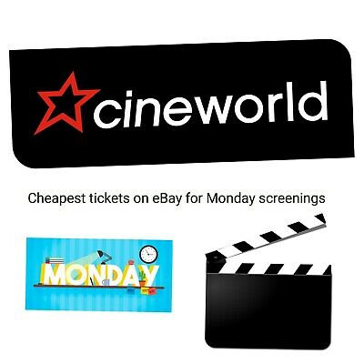 Cineworld tickets cinema -Valid MONDAYS ONLY Adult/Child-INSTANT EMAIL Delivery