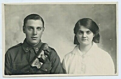 Ww1 C.1915 Brit Soldier With Bandolier & New Wife Pre Embarkation To France D45.