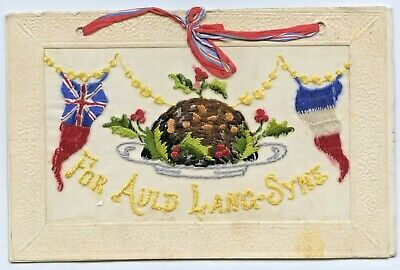 Ww1916 Scarce French Silk Embroidered Postcard With 12 Month Calendar Paris D49