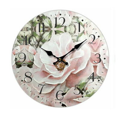 Clock French Country Vintage Wall Hanging 34cm PINK FLOWERS 1 New