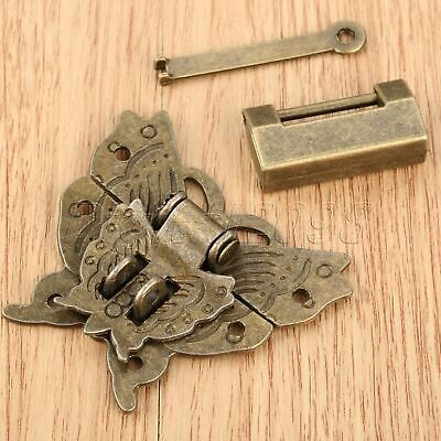 Retro Style Butterfly Box Latch Clasp with 60*38*13mm Trunk Padlock Lock Key Set