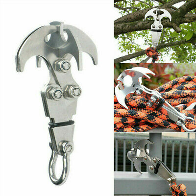 1x Multifunction Stainless Steel Gravity Hook Foldable Grappling Climbing Claw