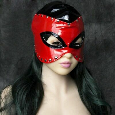 Fashion Fetish Faux Leather Women Mask Sexy roleplay Slave Bondage Hood Head