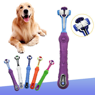3-Sided Dog Cat Toothbrush Pet Oral Dental Care Tooth Grooming Cleaning Brush*