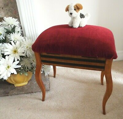Antique 1920s Bentwood Maple Piano storage Stool New Upholstery Dark Red Velvet