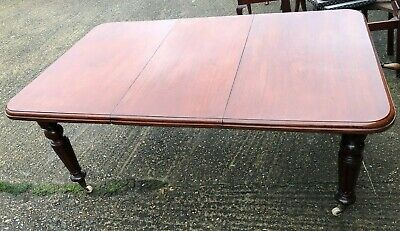 Antique Victorian Wind Out Mahogany Dining Table With Extra Leaf Seats 6 To 8