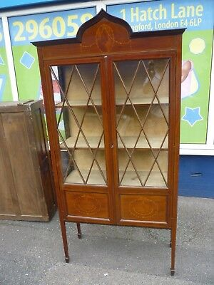 Antique Victorian Inlaid Mahogany Lockable Curio And Collectable Display Cabinet