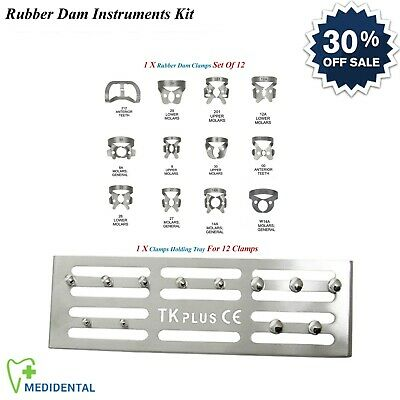 13-PCs Restorative Rubber Dam Universal Clamps Set Of 12 Dental Holding Tray NEW