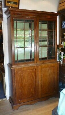 Antique Victorian Inlaid Glazed Bookcase Display Cabinet With Cupboard Under