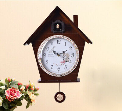 European Garden 14 Inch Wooden Cuckoo Coo Bedroom Rocking Wall Clock #