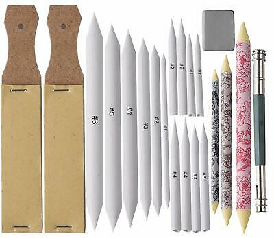 Sketch Sandpaper Pencil Extension Tool Drawing Kneaded Eraser and 14 Pieces Graphite Sketching Pencils for Artist Student Charcoal Sketch 24 Pieces Blending Stumps and Tortillions Set