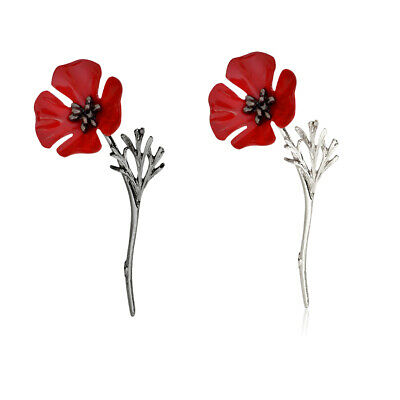Flower Poppy Vintage Brooch Pin Red Crystal Gold Silver Badge Pins Jewelry