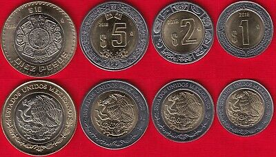 Mexico set of 4 coins: 1 - 10 pesos 2018 UNC
