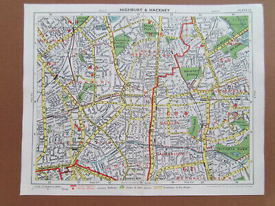 "LONDON HACKNEY HIGHBURY HOLLOWAY VINTAGE 1954 STREET MAP BARTHOLOMEWS 10""x8"""