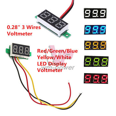 """0.28"""" 3-Wires Voltmeter Volt Panel Meter Red/Green/Blue/Yellow/White LED Display"""