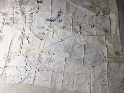 VINTAGE LINENS SUITABLE FOR CRAFT WORK OR MEND ~ Whites / Creams Job Lot x 20