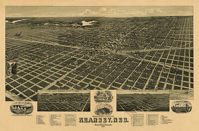 Kearney Nebraska c1889 map 36x24