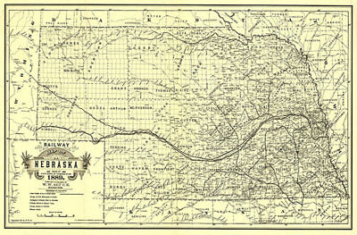 Railway map of Nebraska c1889 36x24
