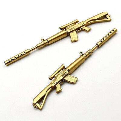 2PC Gold Rifle Shape Black Ink Ballpoint Pen Lot Stationery Office Ball Point