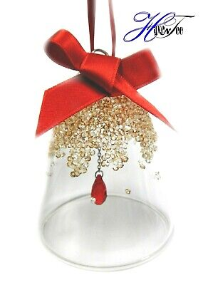Christmas Bell Ornament Small Gold Red 2019 Holiday Swarovski Crystal 5464882