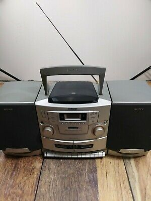 Sony Mega Bass BoomBox CD Dual Cassette Recorder AM FM Radio Player CFD-ZW755