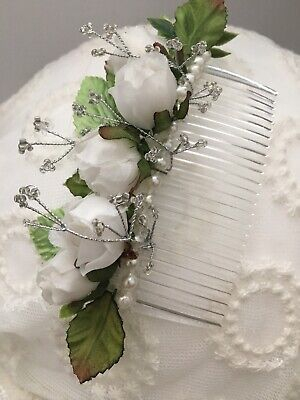 Silvie Haircomb With White Roses Wedding Fascinator Bride