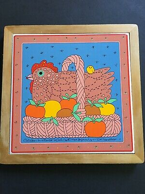 "Vtg Taylor Ng Chicken in a Basket Trivet Tile Wood 1982 Japan 9"" Apples"