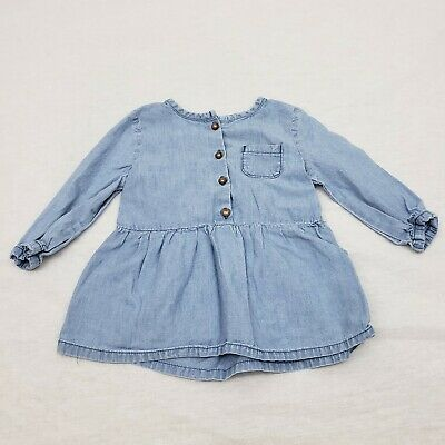 Carters Blue Chambray Top Long Sleeve Button Front Pocket Girls Sz 6 Months