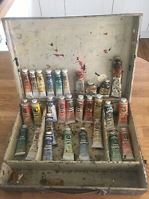 Vintage Wooden Artists' Box with 29 Mostly Winsor & Newton Oil Paint Tubes