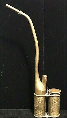 ANTIQUE SIGNED ENGRAVED BRASS CHINESE WATER PIPE - 19th Century HOOKAH