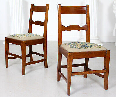 Pair Antique Georgian Country George IV 2 Dining Side Chairs Mahogany