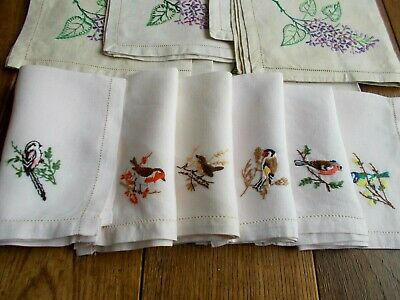 12 Antique Linen Table Napkins With Hand Embroidered Flowers & Birds~2 Sets Of 6