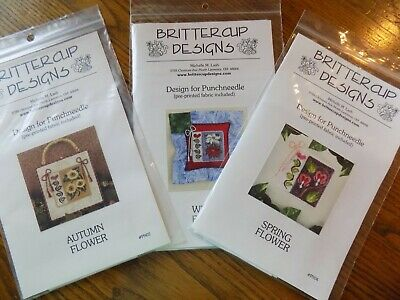 Brittercup Punch Needle W/ Pre-Printed Fabric YOU CHOOSE