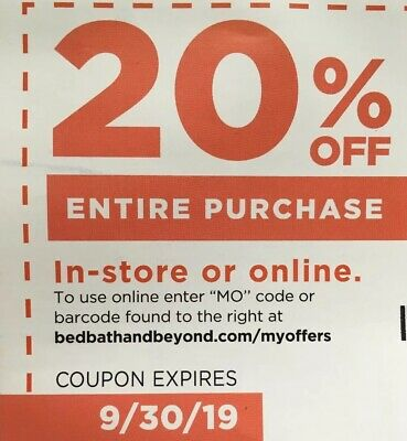 20% Off ENTIRE Purchase Coupon @ Bed Bath & Beyond 9/30/19