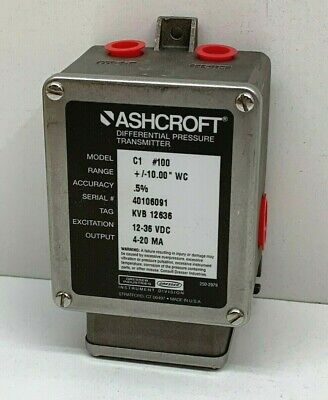 "Ashcroft C1 #100 Differential Pressure Transmitter +/-10""WC, C1N-5-C-XB-..."