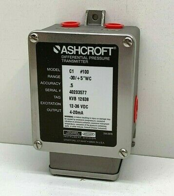 "Ashcroft C1 #100 Differential Pressure Transmitter -30/+5""WC, C1N-5-C-XB...20IWL"