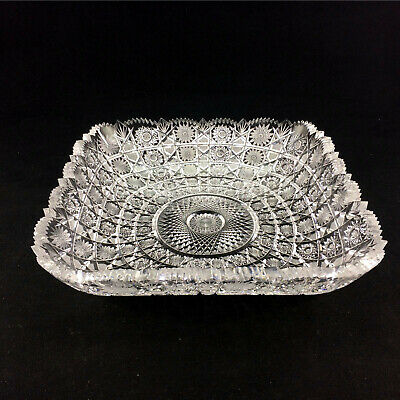 Antique Crystal Serving Bowl Sawtooth Serrated Intricate German Brilliant Cut