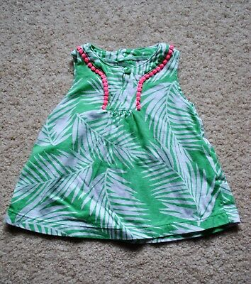 Carter's Baby Girls' Green Leaf Sleeveless Cotton Top - Size 6M
